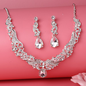 Beauty Silver Flower Pearls Bridal Necklace Tiara Earring Suits 3 pieces Jewelry Suits Wedding Bridal Jewelry P419003