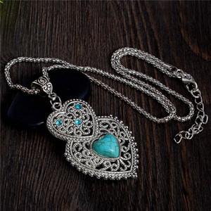 Оптовая продажа-двойное сердце зеленый бирюзовый камень ожерелье Тибетского серебра женщин Кристалл ожерелье ювелирные изделия Бесплатная доставка