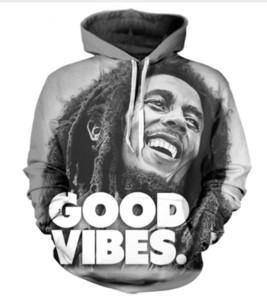 Yeni Moda Bayan / Erkek Bob Marley Harajuku Tarzı Şapka Ile Komik 3D Baskı Rahat Hoodies Hoody Unisex Artı Boyutu KK4