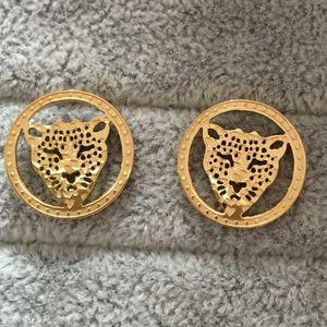 Punk Style Luxury Letter 18K Позолоченные Leopard Head полые круглые серьги с бриллиантами cz для женщин