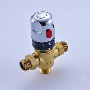 Válvula de mezcla termostática de lujo de latón Válvula de control de temperatura para piezas de la válvula del calentador de agua solar, Mezcladores termostáticos