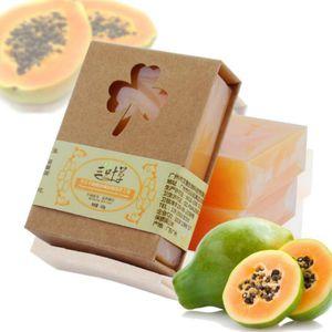 100g Natural Orgânica Herbal Verde Papaya Clareamento Sabonete Artesanal Clareamento Da Pele Remover Acne Hidratante Limpeza Sabão De Banho