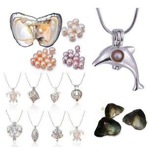 Love Wish Pearl Jaulas Locket Collar Freshwater Pearls Oyster Colgante Collar (embalaje al vacío ostras) Delfines / Tortuga Colgante Collar