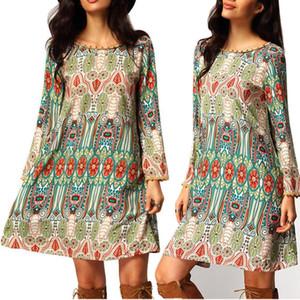 Estilo nacional das mulheres venda quente vestidos de impressão floral boho moda vestido de impressão das mulheres vestido de borla O-pescoço vestido casual