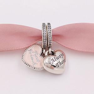 Autêntica 925 libras esterlinas grânulos de Melhores Amigos encanto rosa Charms único estilo europeu jóia de Pandora pulseiras Colar 791950CZ