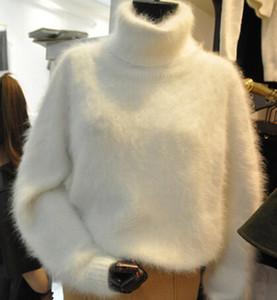 Atacado-inverno Grosso Quente Mink Cashmere Camisola Mulheres Oversized Gola de Malha Blusas e Pulôveres Branco Solto Fuzzy Camisola Casaco