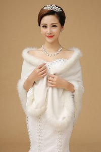 Hot Sale Winter Wedding Coats Faux Fur Shawls Off the Shoulder White Bolero Women Christmas Party Bridal Jackets Wraps Cloaks