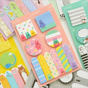 Wholesale- 6 Designs Cartoon Animals Party Kawaii Face Weekly Memo Pad Sticky Notes Work Schedule Marker Scratch Pad Mini Notebook