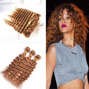 Hellblonde tiefe Welle Haar spinnt 3 Bundles mit Spitze Forntal reine Farbe 27 tiefes lockiges Haar mit Ohr zu Ohr Frontal