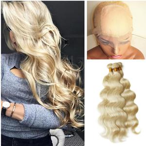 Soie Base Blonde 360 Dentelle Frontale Avec Faisceaux Brésiliens de Cheveux Humains Dentelle Frontale Armure 4 * 4 Silk Base 360 Fermeture Avec les Cheveux de Vague de Corps
