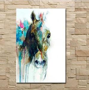 Eingerahmt Reines handgemaltes modernes abstraktes Tier-Kunst-Ölgemälde-Pferdekopf, auf Hoch Quilty Leinwand Hauptwanddekor Multiple Größe