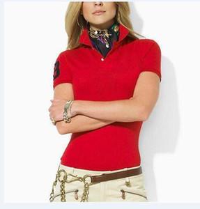 Ücretsiz Kargo Yaz Marka büyük at kadın Polos T Shirt Moda Ince Pamuk Kısa Kollu Polo Tees Casual Spor Gömlek Siyah Beyaz