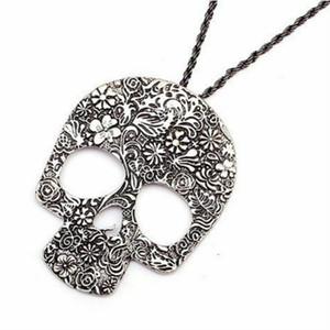 Collares con colgante de calavera Colgante de aleación de esqueleto de color bronce plateado antiguo con joyería punky de cadena de cuerda de 27 pulgadas