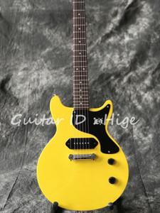 Chegada nova venda quente estúdio guitarra elétrica cor amarela uma peça ponte captador real guitarra pics mostrando, de alta qualidade
