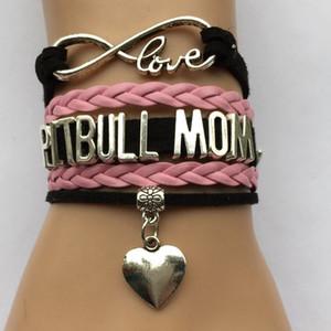 Al por mayor-Drop Shipping Infinity Love Pitbull Mom Pulsera- Mejor Perro Amante de la mascota Regalo de la amistad para las mujeres