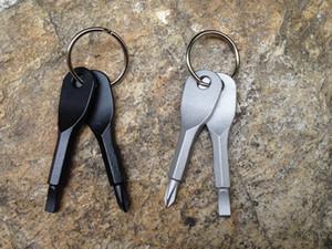 Multifunktionale Pocket Tool Keychain Outdoor EDC Gear Schlüsselanhänger mit Schlitz Phillips Head Mini-Schraubendreher Set Schlüsselanhänger