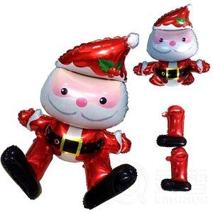 10pcs / lot Noël Père Noël Feuille Ballons À Air Aluminium Enfants Cadeaux De Noël Jouets Classiques Jouets Pour Enfants Garçon Filles Décoration De Fête