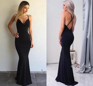 Elegant Simple Noir Robes De Soirée Sirène 2017 Pas Cher Halter V Cou Sexy Dos Nu Criss-Cross Longues Robes De Bal Moins De 100 BA4507