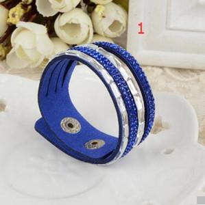 Braccialetto di fascino per le donne Braccialetti di nuovo modo dell'involucro Braccialetti di cuoio di Slake con i prezzi scontati di fabbrica dei cristalli, braccialetto di cuoio 20 pezzi