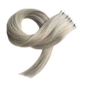 7a gri bant saç uzatma 40 adet çift taraflı cilt atkı bandı insan saç uzatma 100g düz gümüş gri bant uzatma