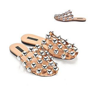 Wholesale- 2016 Fashion Week Celebrity rivet slippers women hollow flat sandals female fashion balck/apricot outdoor slipper summer shoes