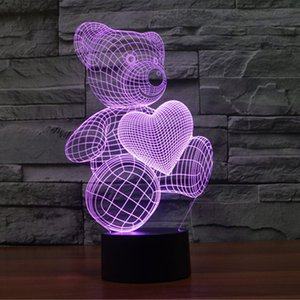 3D Optical Illusion Love Heart Bears Visualization Unique Home Decor USB Powered Touch Switch Colorful Gradient Children Kids Energy Saving