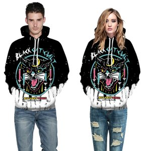 Wholesale free shipping Sexy Halloween Costumes For Men Women 3d Black Cat Print Long Sleeve Hoodies