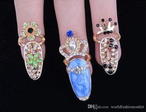 Moda Corona Cristal Dedo Nail Art Ring Joyería Nail Finger nudillo Anillos anillo de cola Nudo de mariposa Arco proteger uñas Herramientas de aleación Accesorio