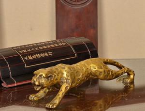 Chinese Folk Bronze Copper Lucky Money Leopard Cheetah Art Statue Figures26cm