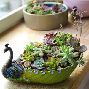 1 pcs Grand Moyen Petit Trois Taille 5 Couleurs Pastorale Simplicité Résine Vert Paon Plantes Pots De Fleurs Creative Pot De Fleurs