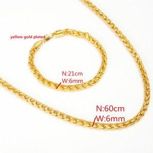 Brasilien Lange Kette 14 Karat Gelbgold Gefüllt 6 MM Säule Stange Kubanischen Gliederkette Männer Hip hop Schmuck Großhandel Armband Halskette Wählen