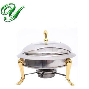 Mini hot pot ensemble cuisinière cuisinière Chafing Dish pots desservant stand chauffe en acier inoxydable couvercle de la couronne d'or 30cm Buffet pan serveur Food Tray fondue Warmer