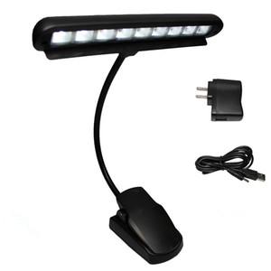 Wiederaufladbare Tischlampe 9 LED Clip Light Orchestra Arm Flexible Notenständer Adapter Buch-Leselampe Buch Lichter Klavier Lampe