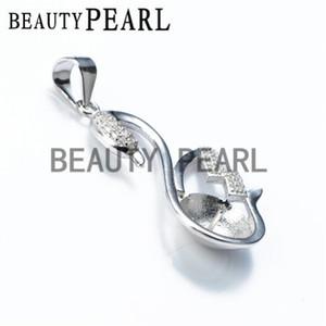 HOPEARL Pingente de Jóias Em Branco 925 Sterling Silver Zircon Findings Swan Pendant DIY Pearl Jewelry 2 Pieces