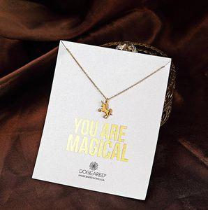 Com cartão! Bonito Colar com pouco de prata e ouro cor Unicorn (Você é Mágico), não desvanece-se, frete grátis e de alta qualidade