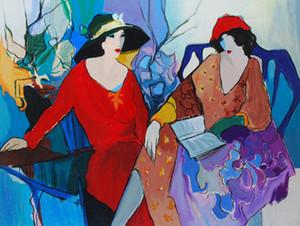 Encadré Itzchak Tarkay femme, Portrait peint à la main peinture à l'huile de portrait à l'huile
