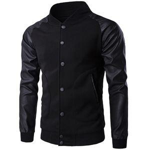 도매 - 새로운 트렌드 블랙 Varsity 자켓 남자 / 소년 폭격기 Veste Homme 2016 패션 PU 가죽 슬리브 슬림 대학 야구 재킷 가을