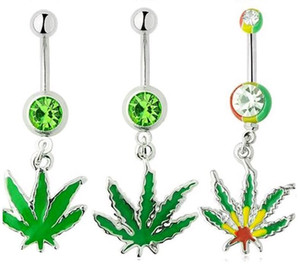 Precio de fábrica Body Piercing Jewelry Anti Allergic Hemp Maple Leaf anillos del vientre verde colorido 10pcs al por mayor