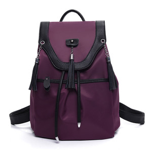 The new 2017 ms Oxford cloth with high-grade leather tassel students super light waterproof backpack backpack trend