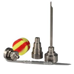 유리 봉 도구는 티타늄 네일 수화물 캡 Dabber TOOL의 slicone 항아리 살짝 적셔 용기와 T-002 Domeless GR2 티타늄 네일을 설정