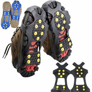 미끄럼 방지 신발 눈 얼음 클리트 그립 미끄럼 방지 박힌 얼음 견인 신발 커버 스파이크 아이젠 클리트 크기 S / M / L / XL