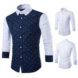 Vendita all'ingrosso - Moda uomo Skull stampe manica lunga Casual Patchwork Button Down Shirt Dress smt 87