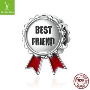 Venta al por mayor nueva llegada 925 plata esterlina el mejor amigo medalla Beads Fit Pandora Charm pulsera DIY regalo de la joyería DIY CQC174