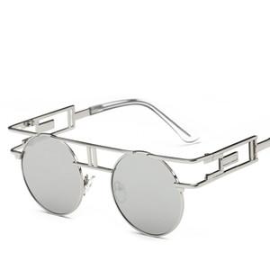 Gafas de sol redondas de alta calidad marco de metal gafas de sol Steampunk mujeres diseñador de la marca hombres redondos gafas de sol góticas gafas vintage