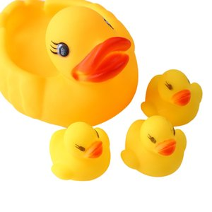 4pc set Bath Toys Shower Water Floating Squeaky Yellow Rubber Ducks Baby Toys Water Toys Brinquedos For Bathroom