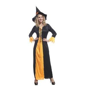 Xangai História Mulheres Bruxa Trajes de Halloween orange e black witch cosplay sexy dress