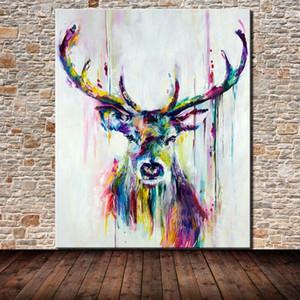 Emoldurado Unframed de Alta Qualidade HandPainted HD Impressão moderna abstrata arte abstrata arte pintura de cervo home parede deco em lona multi tamanhos personalizados