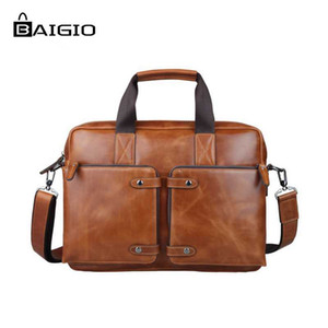 "Al por mayor- Baigio Men Leather Briefcase For 14.5 ""Laptop Business Bag Designer Italian Leather Messenger Bag Tote Satchel Hombro Hombres Bolsa"