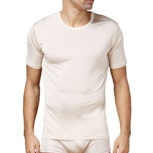 Warm And Comfortable Pure Silk Knit Mens Round Neck Short Sleeves Solid Size L XL XXL