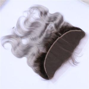 """Two Tone 1B / Gris Ombre Brésilien Cheveux de dentelle 13x4 Frontal Fermeture de vague de corps 8-24"""" En stock Gris argent Ombre dentelle fronteaux"""